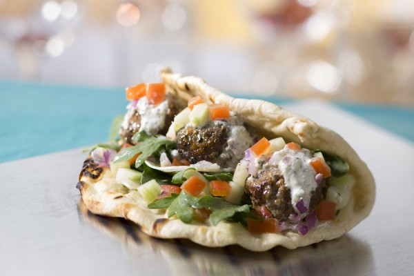 Disney lamb meatball flatbread with tzatziki