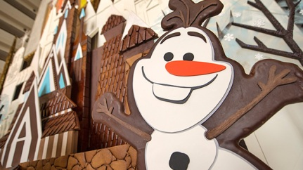 """""""Frozen"""" Gingerbread Holiday Ice Castle Graces Disney's Contemporary Resort."""