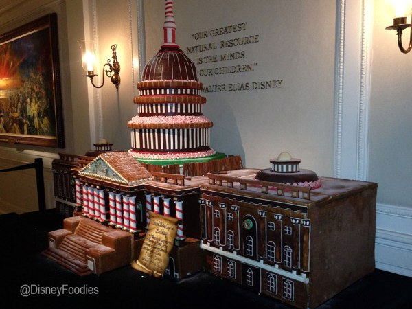 The U.S. Capitol Building made from gingerbread inside EPCOT's American Adventure at Walt Disney World.