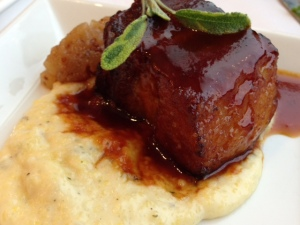 Braised Pork Belly with Goat Cheese Polenta and Country Applesauce from California Grill.